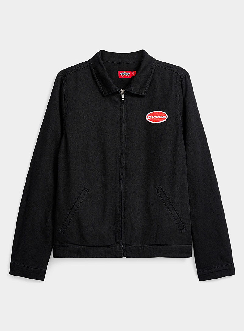 Dickies Black Accent logo zip black jean jacket for women
