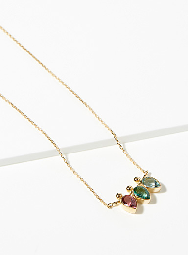 Coloured three-teardrop necklace