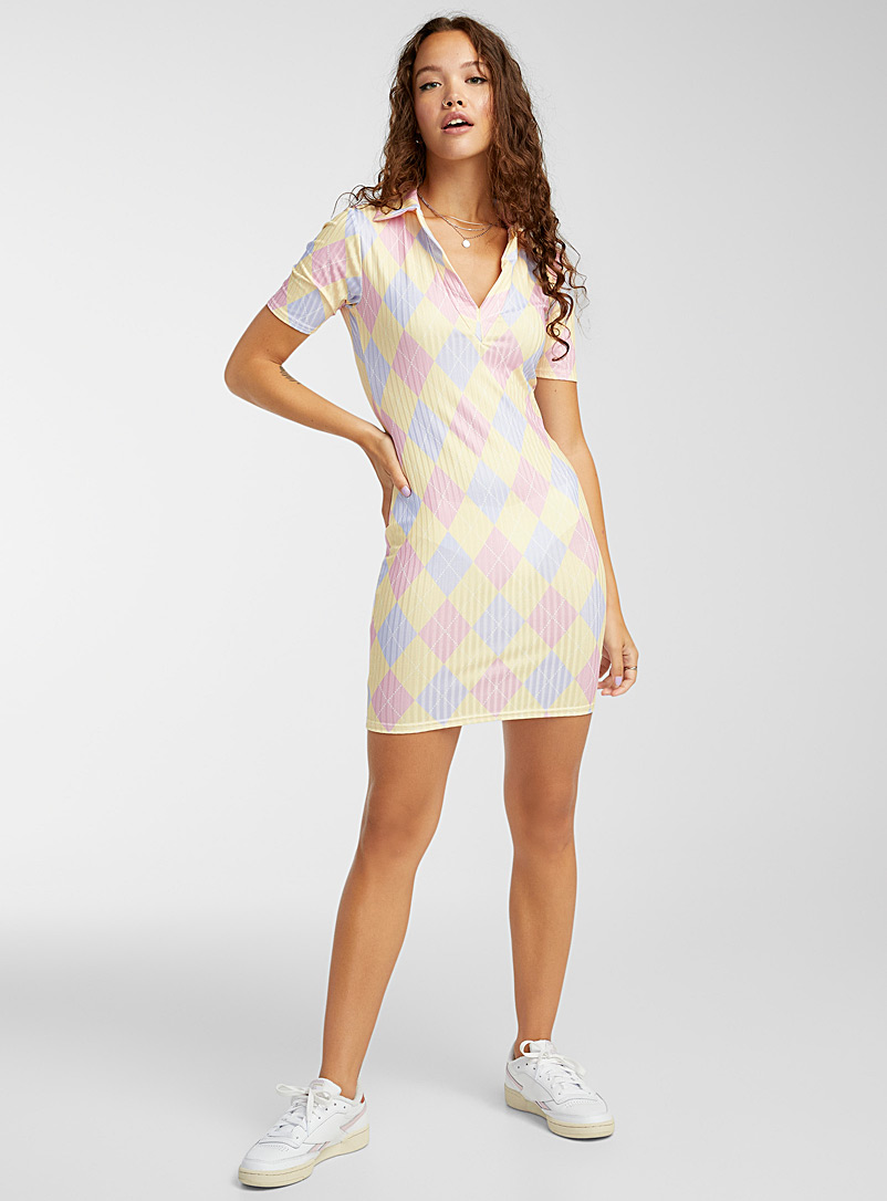 New Girl Order Patterned Yellow Pastel argyle bodycon dress for women