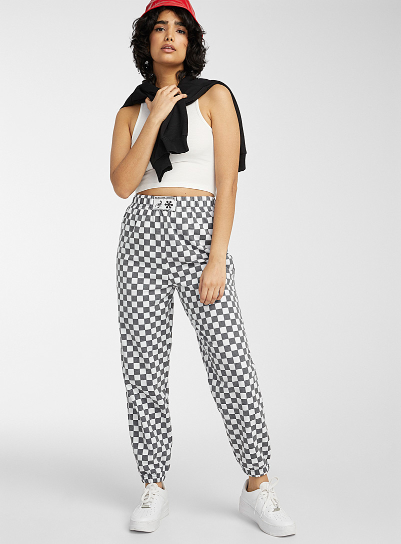 New Girl Order Patterned Black Grey and white check joggers for women