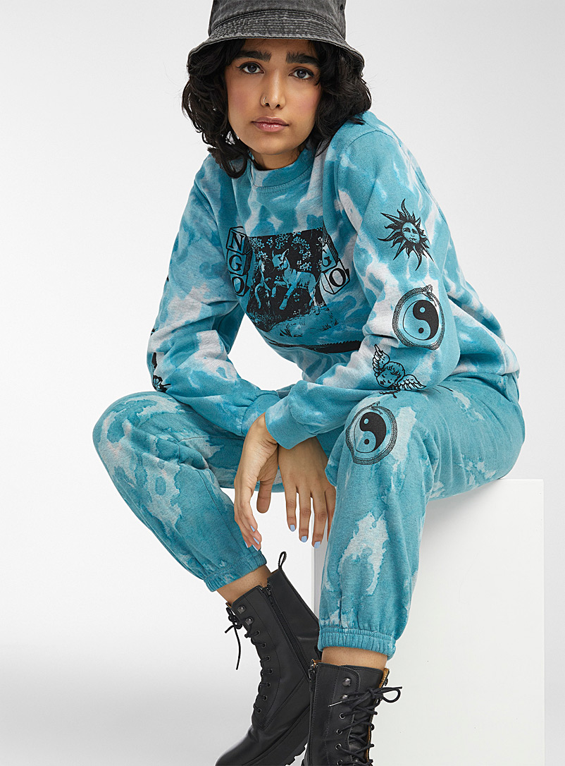 New Girl Order Patterned Blue Etched tie-dye sweatshirt for women
