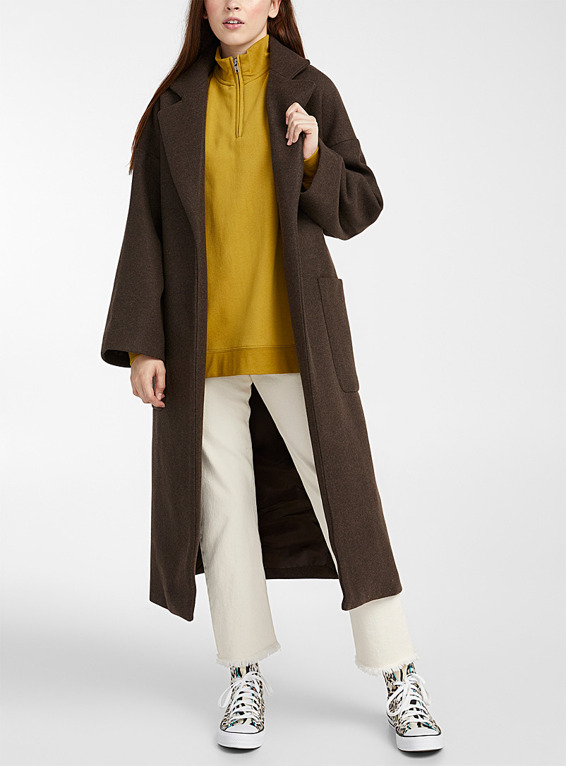 Twik Brown Champagne trench wool coat for women