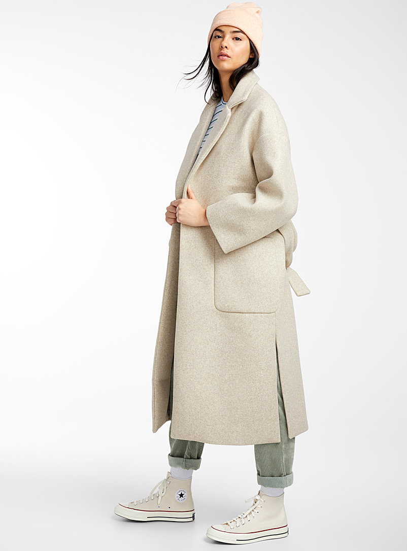 Twik Fawn Champagne trench wool coat for women