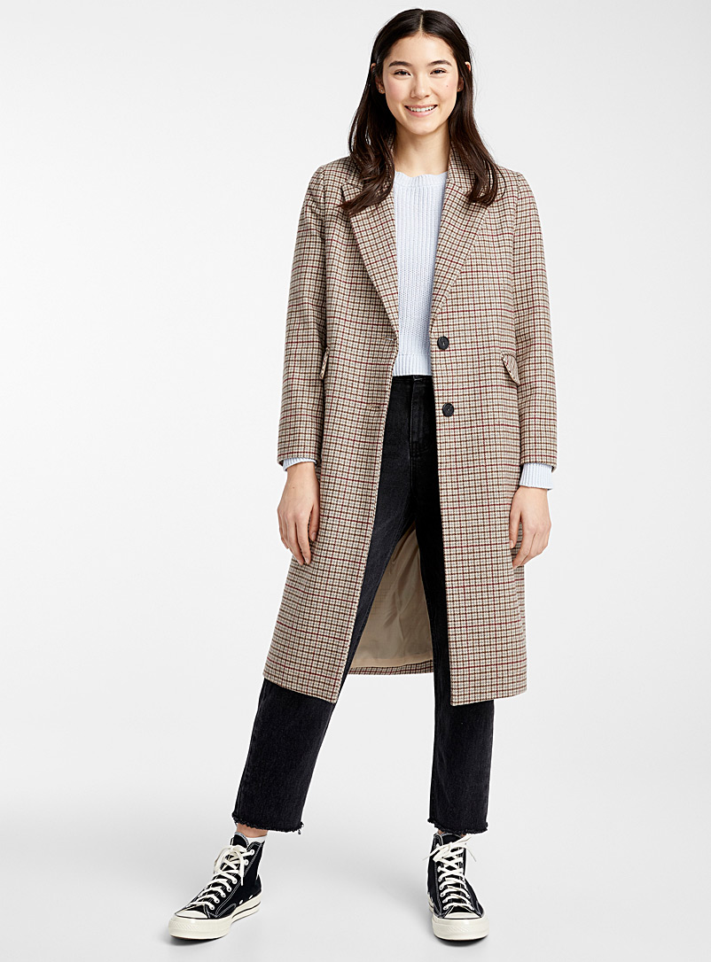 Vintage check wool coat - Wool - Assorted brown