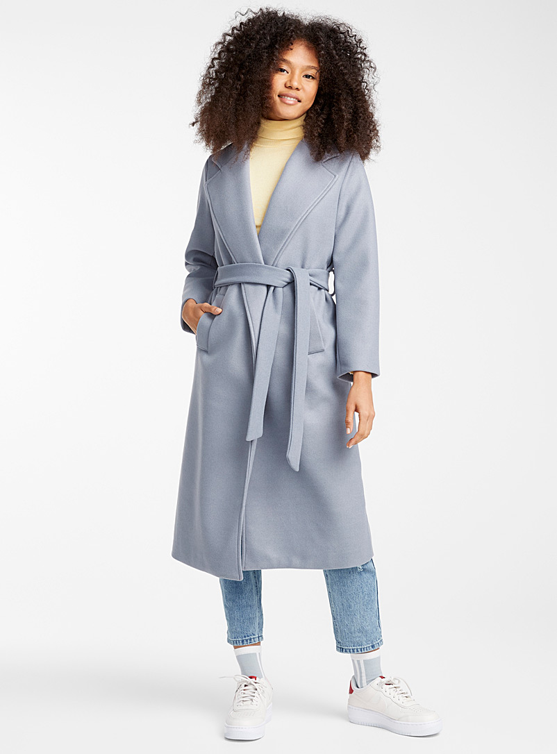 Le long manteau trench pastel - Lainage - Bleu