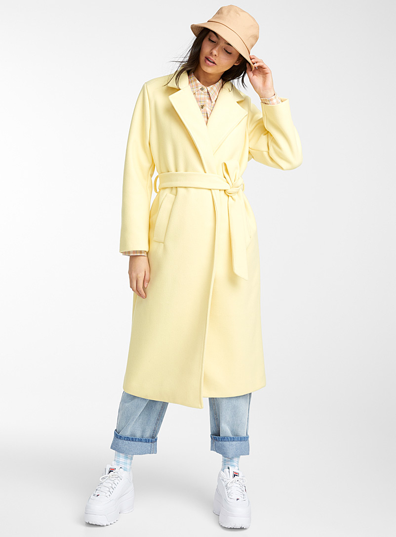Le long manteau trench pastel - Lainage - Jaune pâle