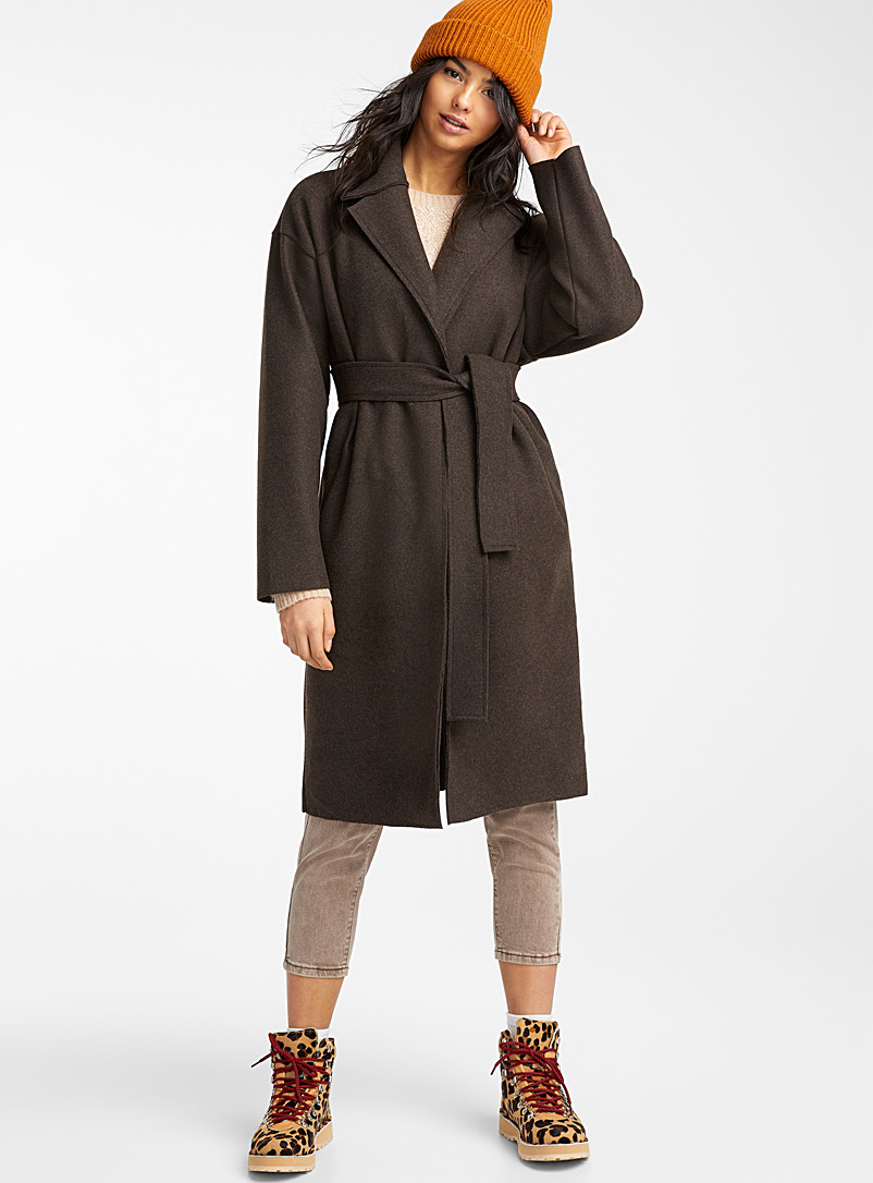 Slate grey trench coat - Wool - Brown