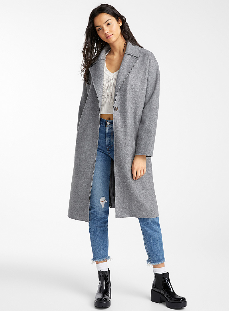 Twik Grey Minimalist trench coat for women