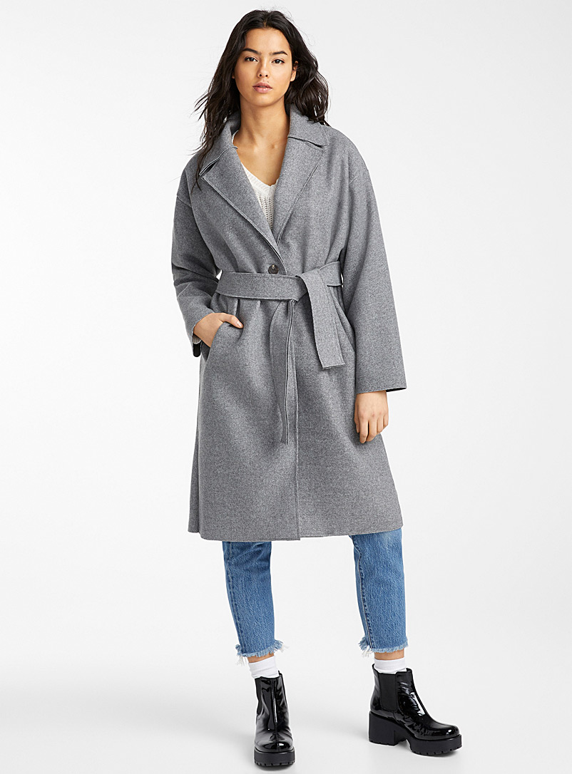 Slate grey trench coat - Wool - Grey
