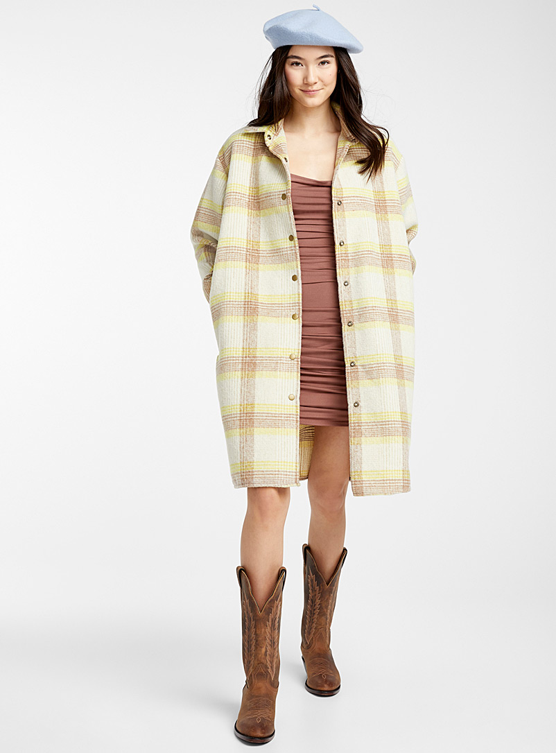 Twik Assorted yellow  Sunny check wool coat for women