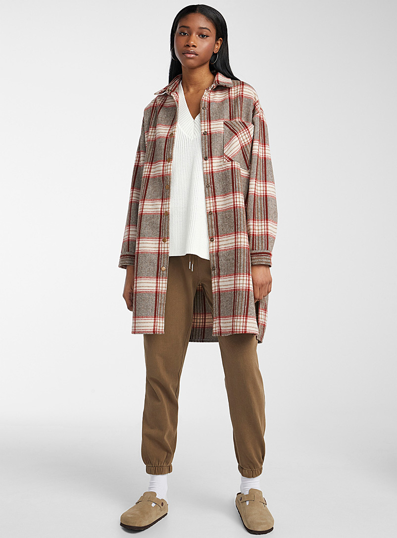 Twik Patterned Grey Cottage check overshirt for women