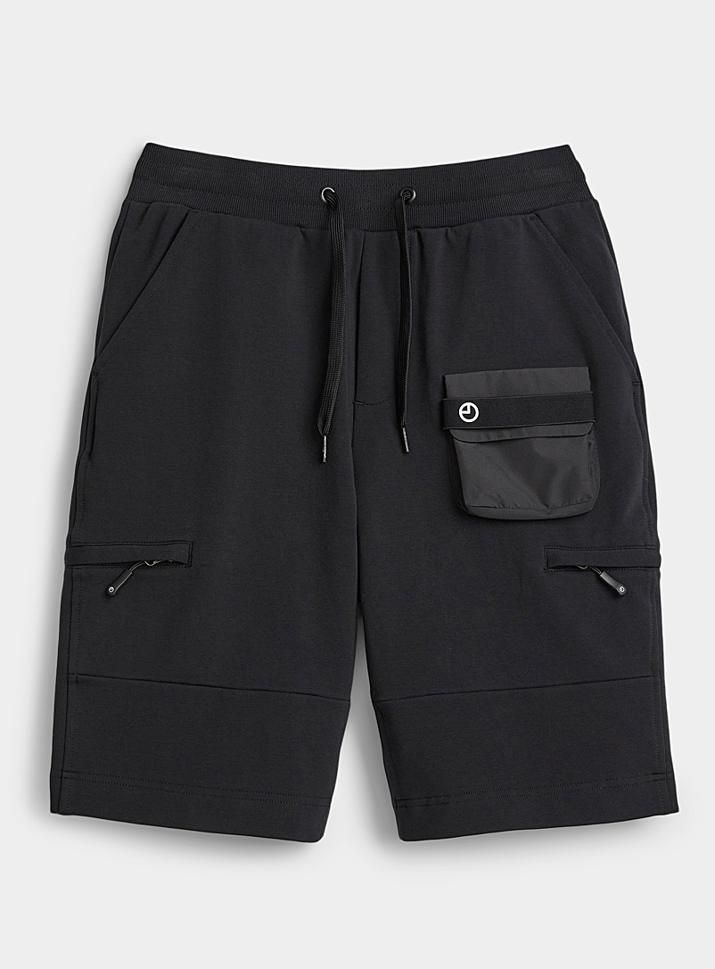 9PM Black Monochrome utility sweat short for men