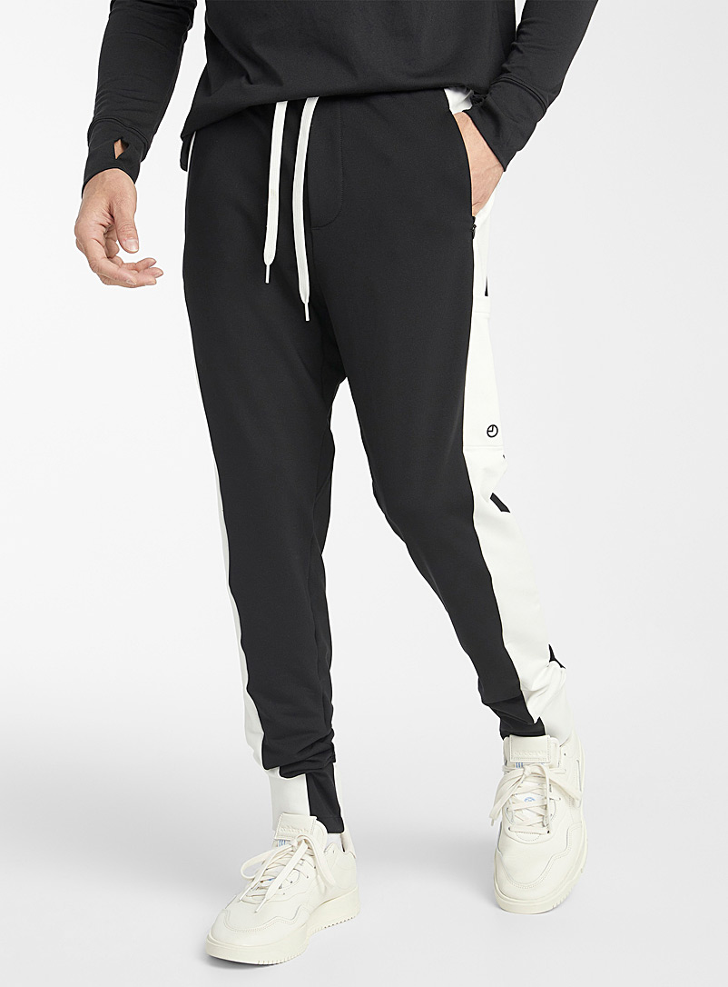 9PM Black Contrasting bands joggers for men