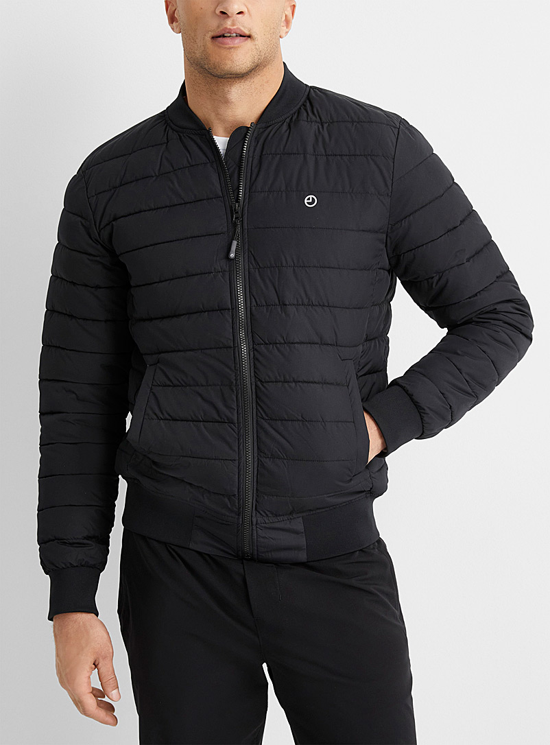9PM Black Quilted bomber jacket for men