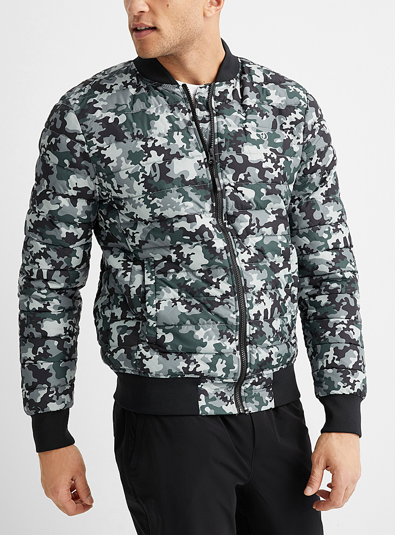 9PM Patterned Black Quilted bomber jacket for men