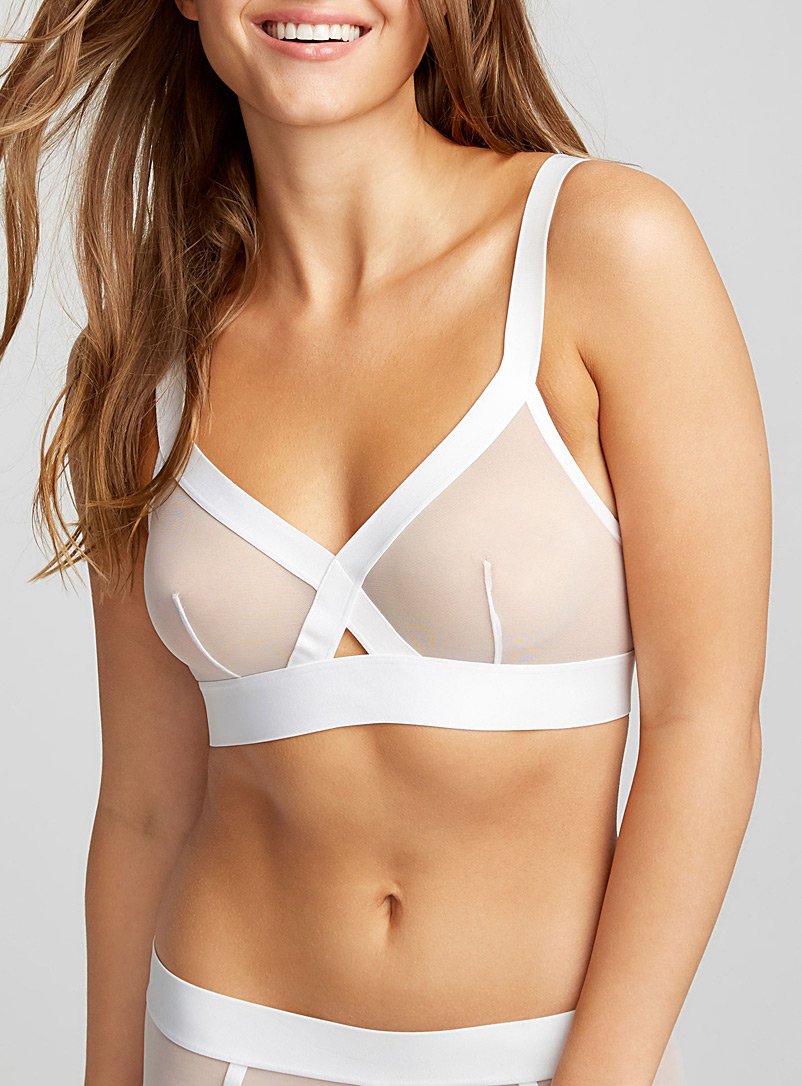 DKNY White Sheer mesh triangle bra for women