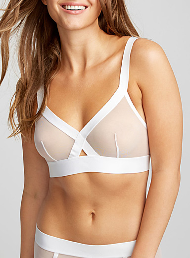 Sheer mesh triangle bra