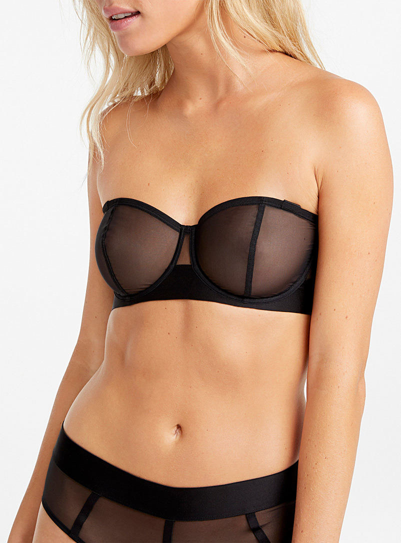 DKNY Black Sheer mesh convertible bra for women