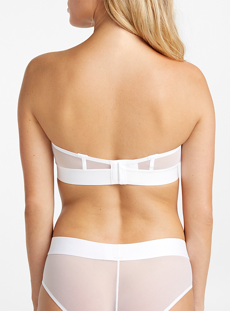 DKNY White Sheer mesh convertible bra for women