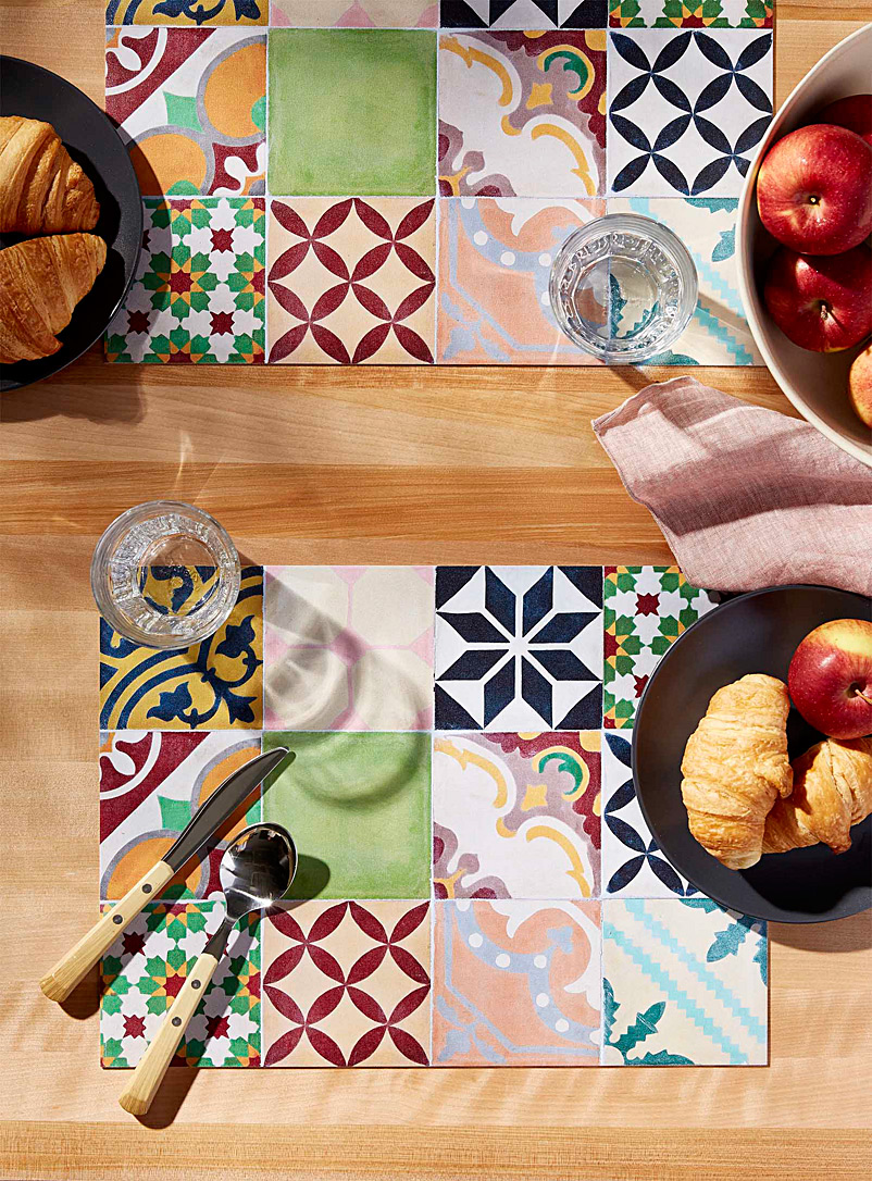 Simons Maison Assorted Andalusian tile vinyl placemat