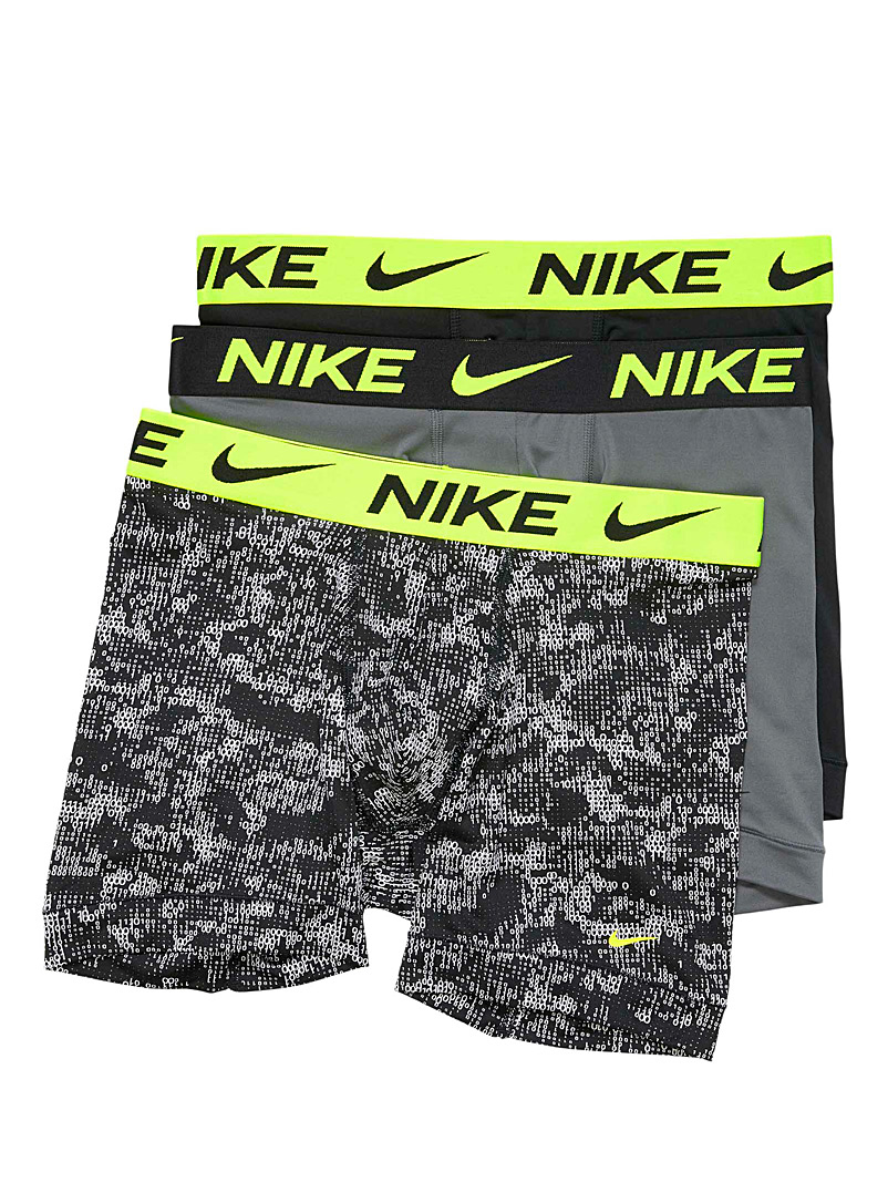 Nike Patterned Black Neon-waistband Essential boxer briefs 3-pack for men