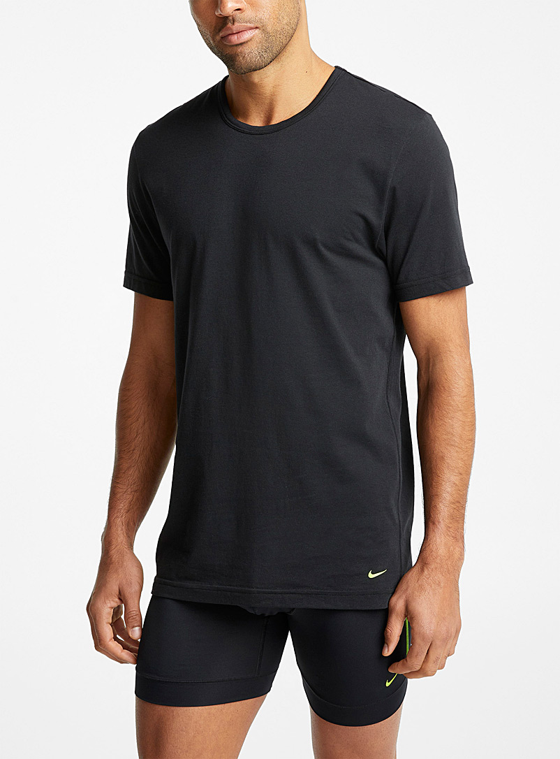 Nike Black Luxe crew-neck undershirts 2-pack for men