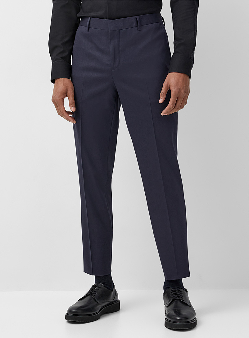 Le 31 Marine Blue Innovation Marzotto wool pant Stockholm fit - Slim for men