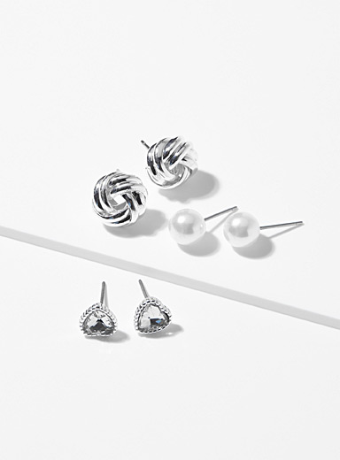 Simons Silver Essential earrings  Set of 3 pairs for women