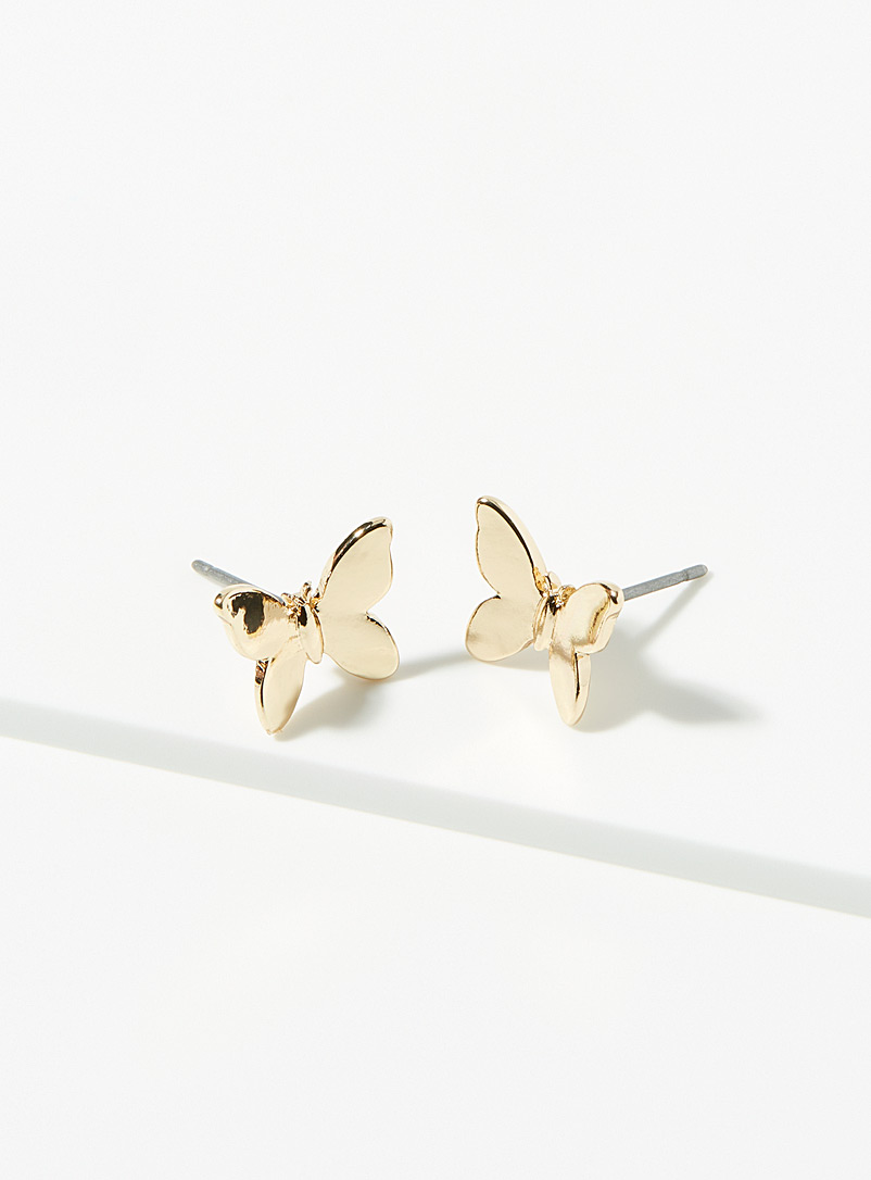Simons Gold Small butterfly earrings for women