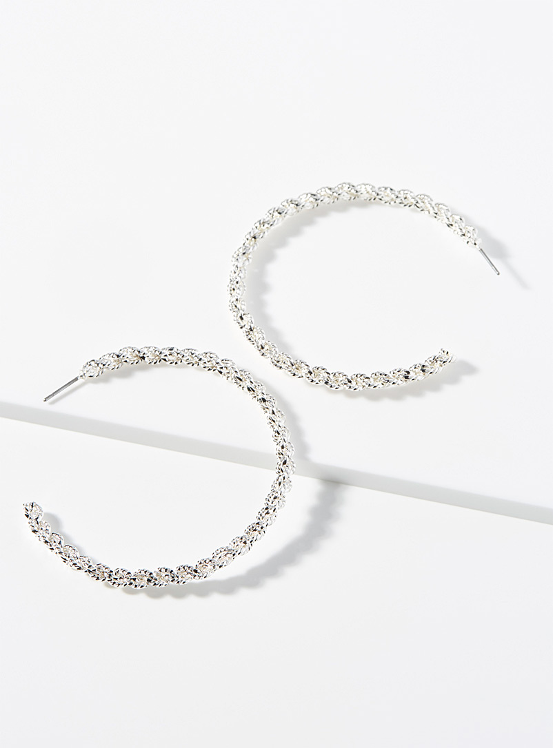 Simons Silver Dazzling twisted hoops for women