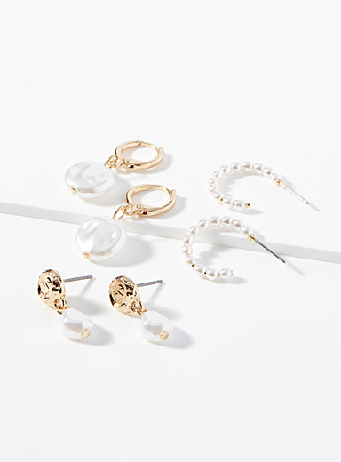 Pearl and gold earrings  3-pair set