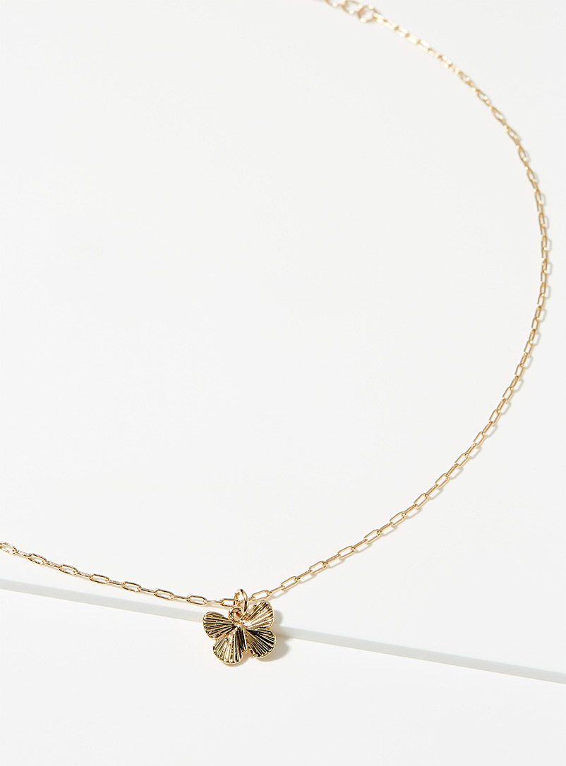 Simons Gold Engraved butterfly chain necklace for women