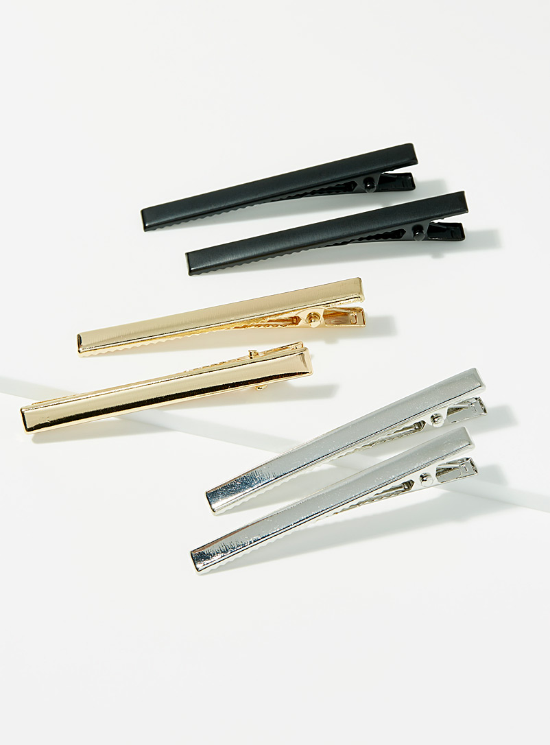 Simons Assorted Metallic ingot clips  Set of 6 for women