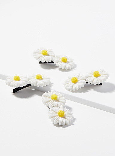 Simons Patterned Yellow Daisy mini-clips  Set of 4 for women