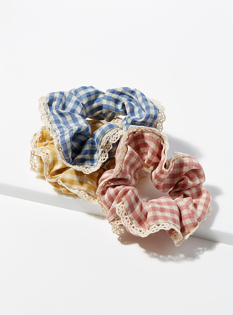 Simons Assorted Lace and gingham scrunchies  Set of 3 for women