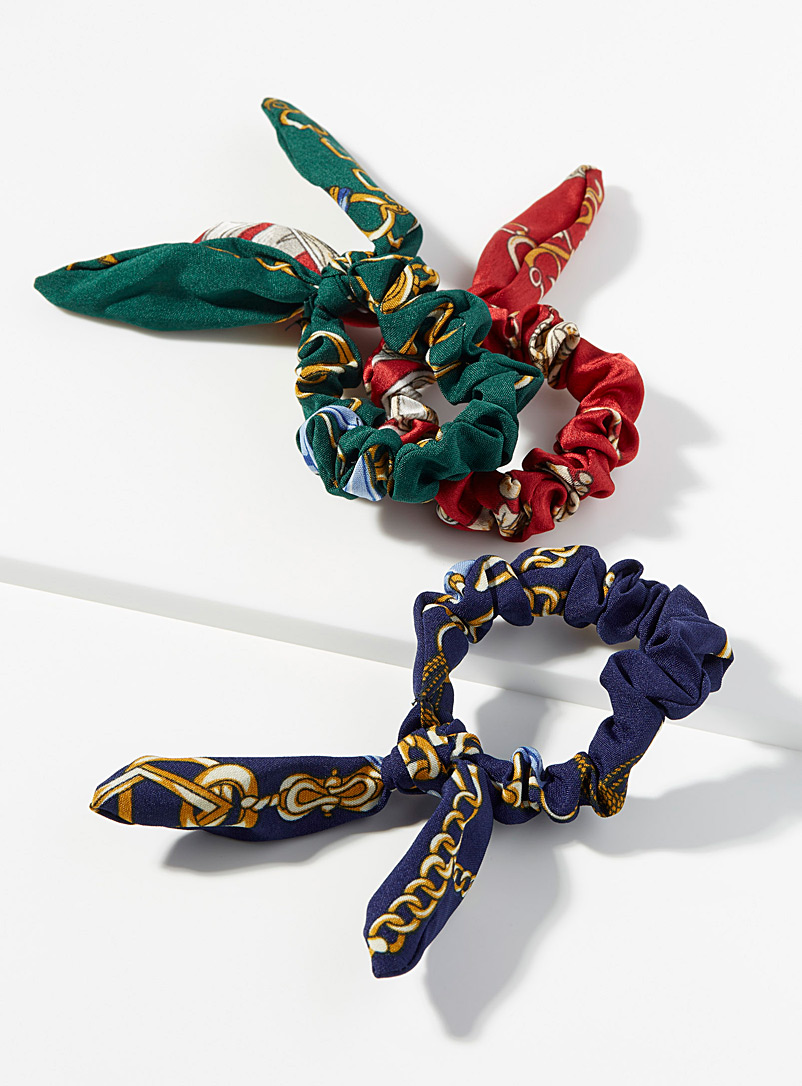 Simons Assorted  Equestrian-style scrunchies  Set of 3 for women