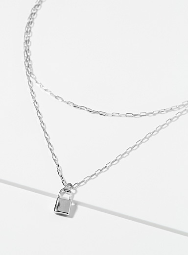 Padlock pendant double-layered chain