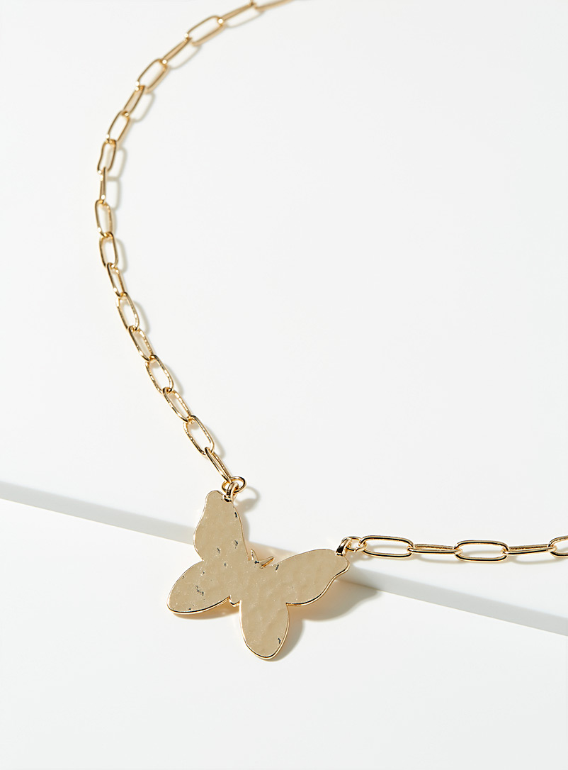 Simons Gold Hammered XL butterfly chain for women