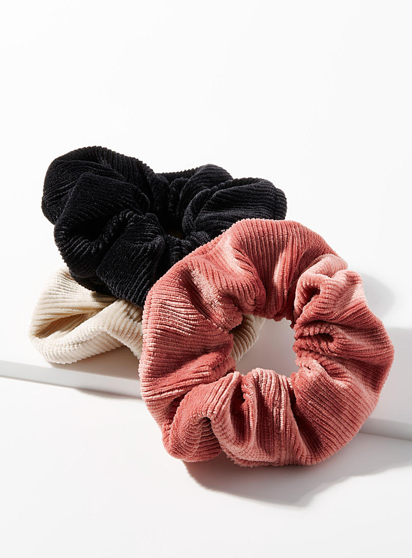 Simons Patterned Brown Oversized corduroy scrunchies Set of 3 for women