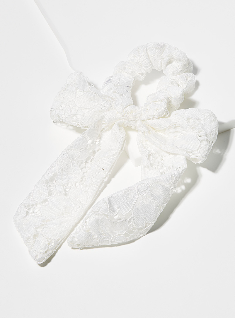 Lace bow scrunchie