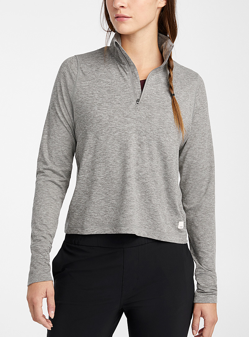 Vuori Grey Crescent half-zip top for women