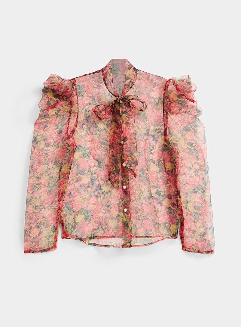 Icône Red Pearl button floral shirt for women