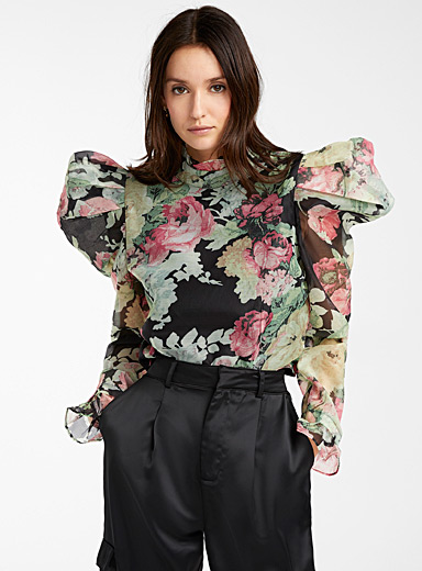 Bubble shoulder floral tapestry blouse