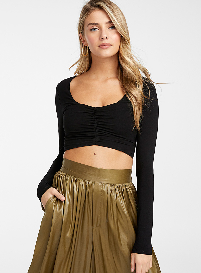 Icône Black Gathered insert cropped T-shirt for women