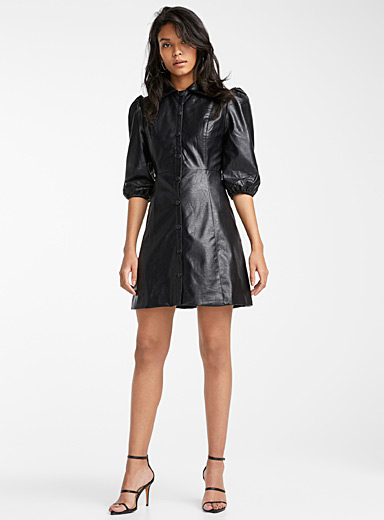 Icône Black Faux-leather puff-sleeve dress for women