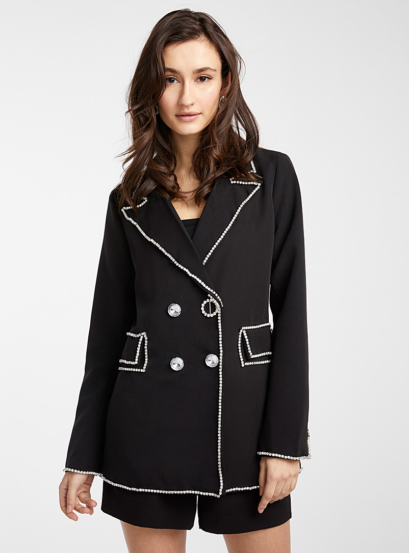 Icône Black Crystal-trimmed blazer for women