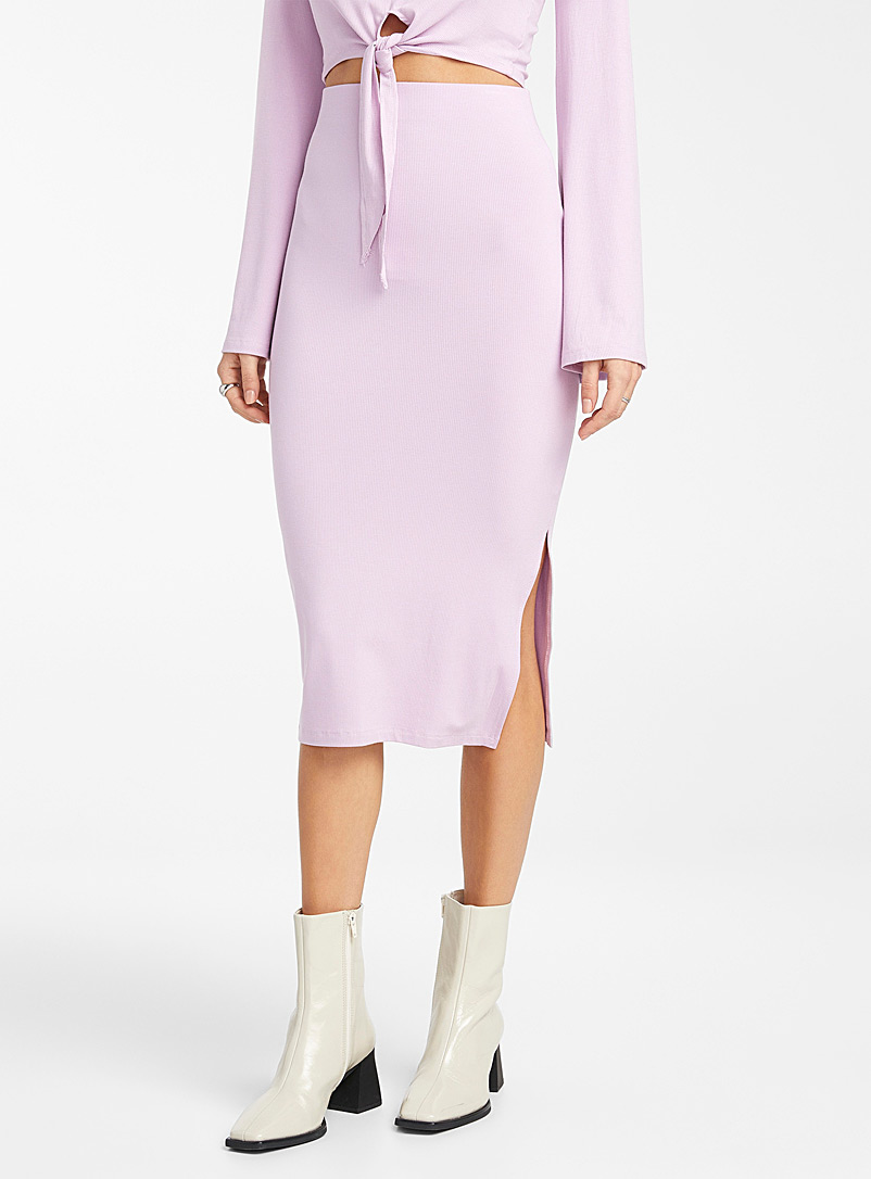 Icône Lilacs Ribbed jersey midi skirt for women