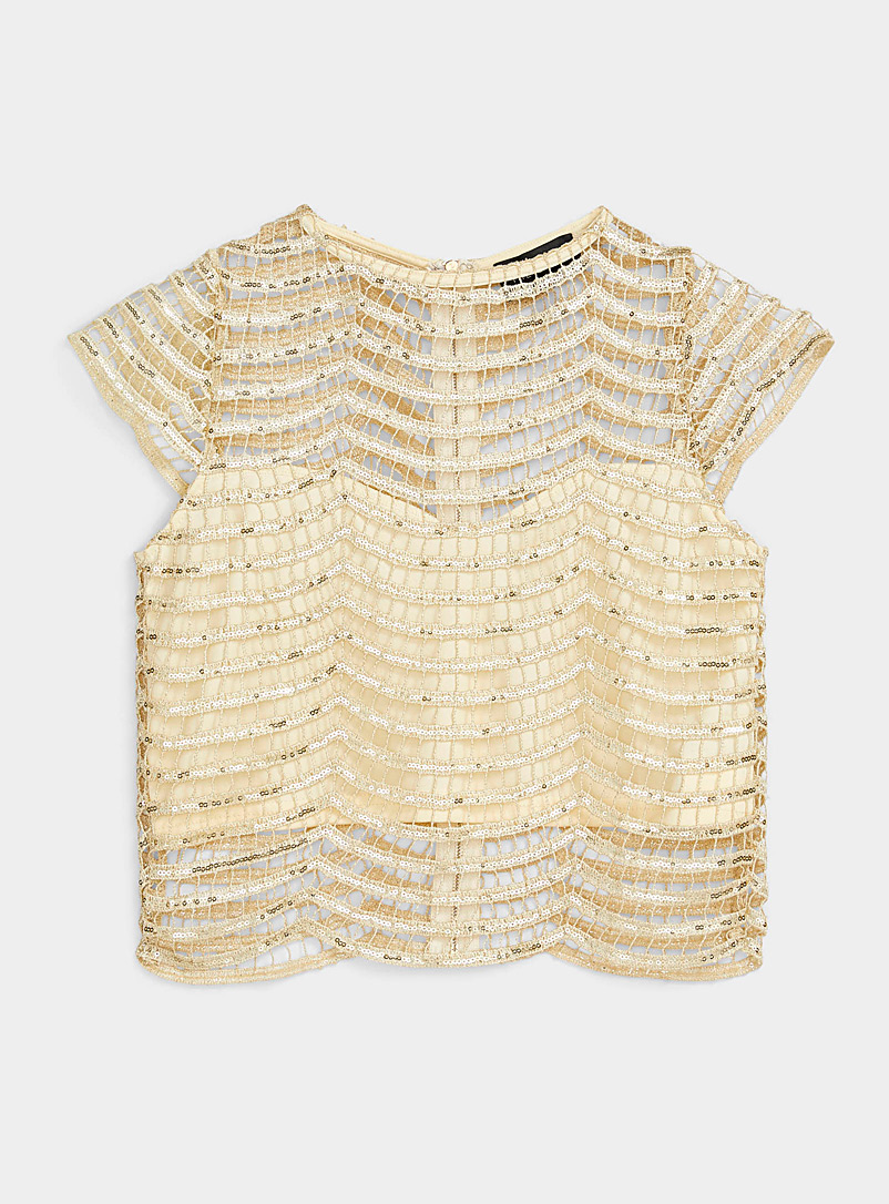 Ic?ne Golden Yellow Art deco sequin top for women