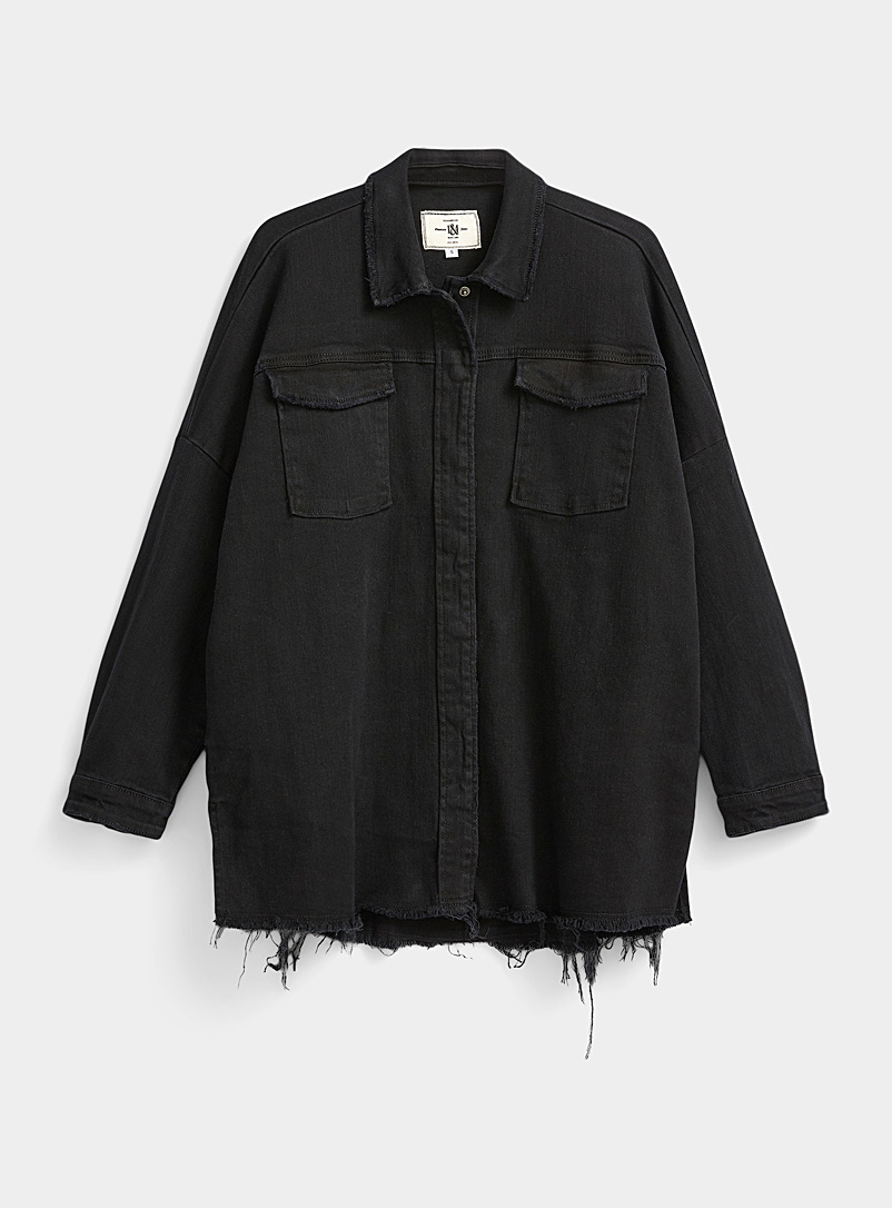 Ic?ne Black Oversized frayed jean jacket for women
