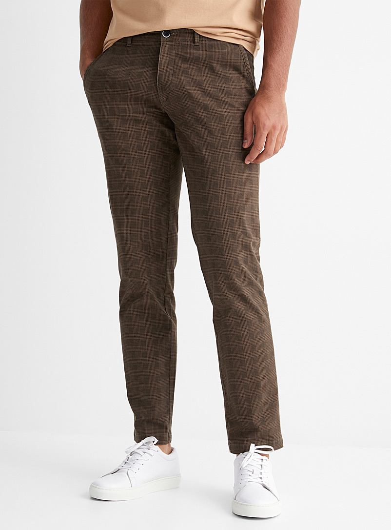 Sisley Mossy Green Patterned chinos  Skinny fit for men